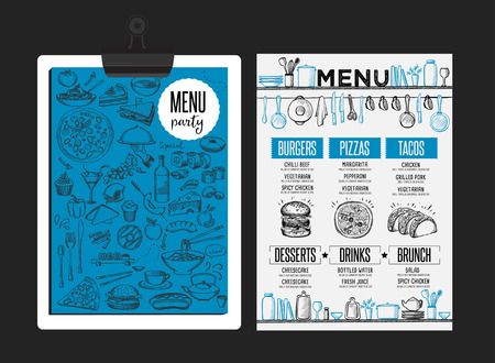 menú de cafetería folleto mantel de la comida, diseño de plantilla de restaurante. volante creativo brunch de la vendimia con el gráfico dibujado a mano. Ilustración de vector