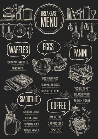 Breakfast menu placemat food restaurant brochure, template design. Vintage creative dinner flyer with hand-drawn graphic. Stock Illustratie