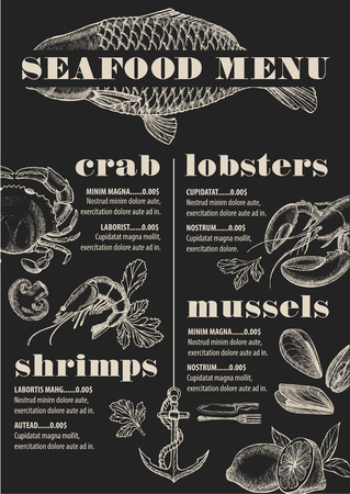 Seafood Menu Placemat Food Restaurant Brochure Template Design