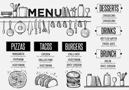 alimentos y bebidas: menú de cafetería folleto mantel de la comida, diseño de plantilla de restaurante. volante creativo brunch de la vendimia con el gráfico dibujado a mano.