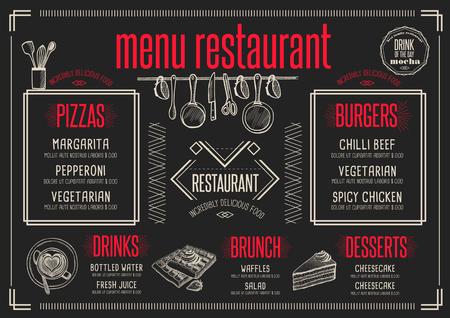 Mantel individual menú de un restaurante de comida folleto, diseño de plantilla de café. volante creativo brunch de la vendimia con el gráfico dibujado a mano.