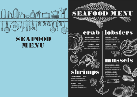 dinner menu: Seafood menu placemat food restaurant brochure, template design. Vintage creative dinner flyer with hand-drawn graphic.