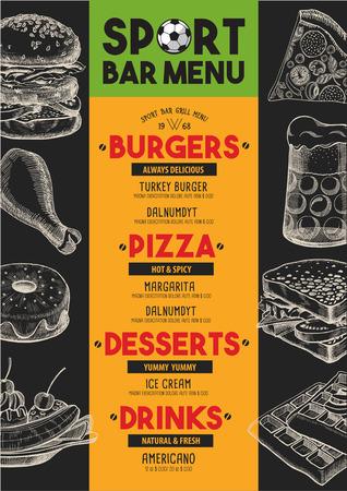 Sport Bar Menu Placemat Food Restaurant Brochure Template Design