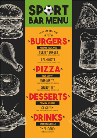 sports bar: Sport bar menu placemat food restaurant brochure, template design. Vintage creative dinner flyer with hand-drawn graphic.
