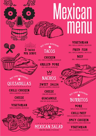 dinner menu: Mexican menu placemat food restaurant brochure, template design. Vintage creative dinner flyer with hand-drawn graphic.