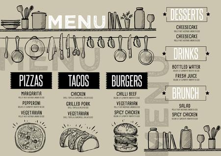 카페 메뉴 음식 플레이스 브로셔, 레스토랑 템플릿 디자인. 손으로 그린 그래픽 크리 에이 티브 빈티지 브런치 안내서.