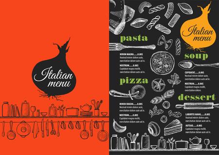 restaurante italiano: Menú italiano mantel folleto restaurante de comida, diseño de la plantilla. Vintage volante de pizza creativa con el gráfico dibujado a mano.