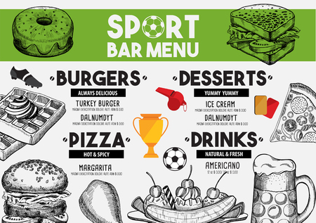 placemat: Sport bar menu placemat food restaurant brochure, template design. Vintage creative dinner flyer with hand-drawn graphic.