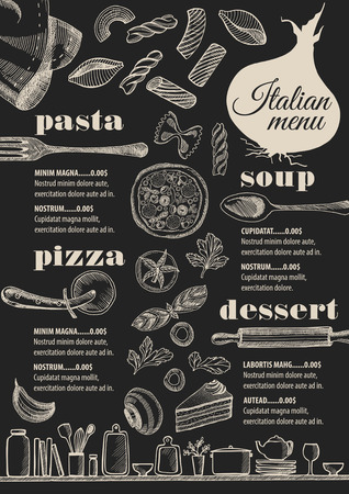 Italian menu placemat food restaurant brochure, template design. Vintage creative pizza flyer with hand-drawn graphic. Stock Illustratie