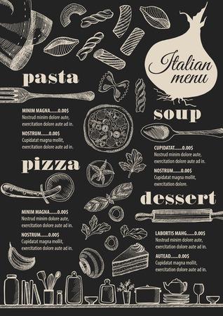 Italienne Menu napperon restaurant de restauration brochure, modèle de conception. Vintage dépliant pizza créatif avec graphique dessiné à la main.