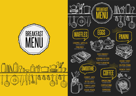 Breakfast menu placemat food restaurant brochure, template design. Vintage creative dinner flyer with hand-drawn graphic.  イラスト・ベクター素材