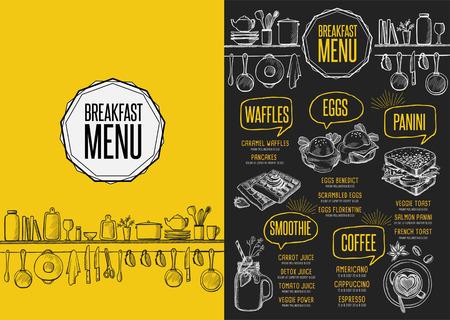 Breakfast menu placemat food restaurant brochure, template design. Vintage creative dinner flyer with hand-drawn graphic. Illustration