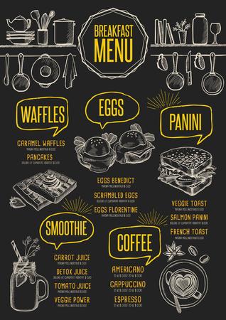 Breakfast menu placemat food restaurant brochure, template design. Vintage creative dinner flyer with hand-drawn graphic. Vettoriali