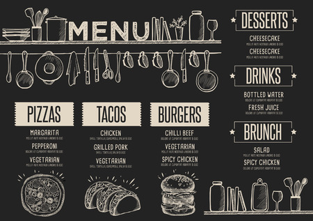 Cafe menu food placemat brochure, restaurant template design. Creative vintage brunch flyer with hand-drawn graphic. Stok Fotoğraf - 63152853