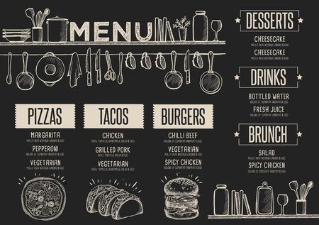 Menu Cafe żywności podkładka broszura, restauracja szablon. Kreacja rocznika brunch ulotki z rysowane ręcznie grafiki. Ilustracje wektorowe