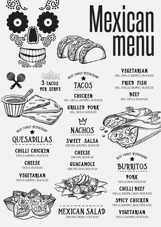 food drink: Mexican menu placemat food restaurant brochure, template design. Vintage creative dinner flyer with hand-drawn graphic.