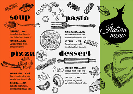 Italian menu placemat food restaurant brochure, template design. Vintage creative pizza flyer with hand-drawn graphic. Illustration