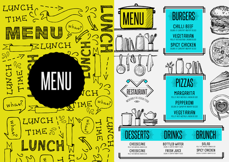 Restaurant menu placemat food brochure, cafe template design. Vintage creative dinner flyer with hand-drawn graphic.