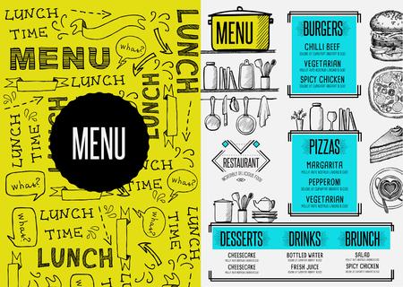 Ristorante brochure cibo menù tovaglietta, modello di caffè di design. Vintage cena volantino creativo con grafica disegnata a mano.