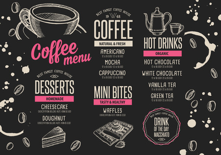 Coffee menu placemat food restaurant brochure; cafe template design. Vintage creative beverage flyer with hand-drawn graphic. 免版税图像 - 63152835