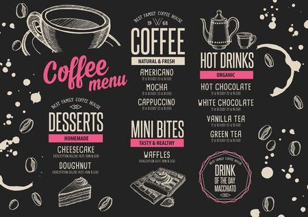 Del folleto del menú mantel de restaurante de comida; Diseño del modelo del café. aviador de la vendimia bebida creativa con el gráfico dibujado a mano. Ilustración de vector