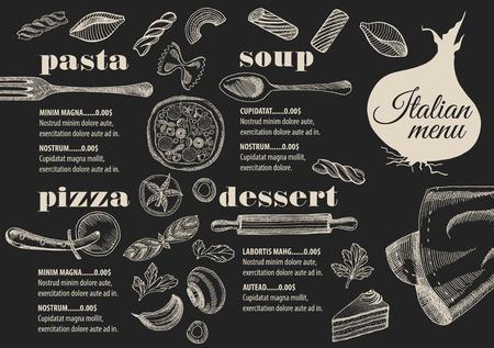 Menú italiano mantel folleto restaurante de comida, diseño de la plantilla. Vintage volante de pizza creativa con el gráfico dibujado a mano.