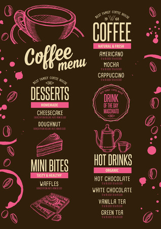 beverage menu: Coffee menu placemat food restaurant brochure; cafe template design. Vintage creative beverage flyer with hand-drawn graphic.