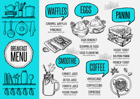 아침 식사 메뉴 플레이스 음식 레스토랑 브로셔, 템플릿 디자인입니다. 손으로 그린 그래픽 빈티지 창조적 인 저녁 식사 전단지. 일러스트