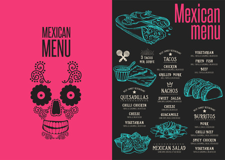 Mexican menu placemat food restaurant brochure, template design. Vintage creative dinner flyer with hand-drawn graphic.