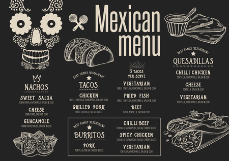 Mexican menu placemat food restaurant brochure, template design. Vintage creative dinner flyer with hand-drawn graphic. Vector Illustration