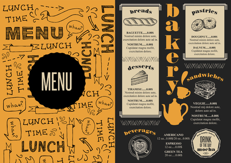 placemat: Bakery coffee menu placemat food restaurant brochure; cafe template design. Vintage creative bread flyer with hand-drawn graphic. Illustration