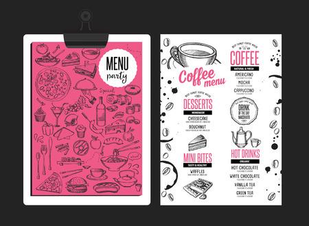 コーヒー メニュー マット食品レストラン パンフレット;カフェ デザイン テンプレート。手描きのグラフィックとヴィンテージの創造的な飲料のチ