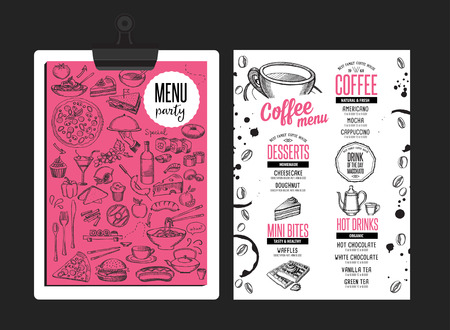 Coffee menu placemat food restaurant brochure; cafe template design. Vintage creative beverage flyer with hand-drawn graphic.