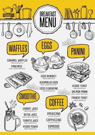 Frühstück Menü Platzdeckchen-Food-Restaurant Broschüre Template-Design. Weinlese kreatives Abendessen Flyer mit handgezeichneten Grafik. Standard-Bild - 63152977