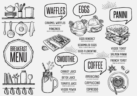 Breakfast menu placemat food restaurant brochure, template design. Vintage creative dinner flyer with hand-drawn graphic. Vectores