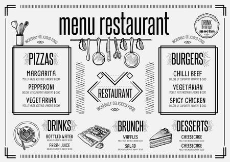 Placemat menu restaurant food brochure, cafe template design. Creative vintage brunch flyer with hand-drawn graphic.