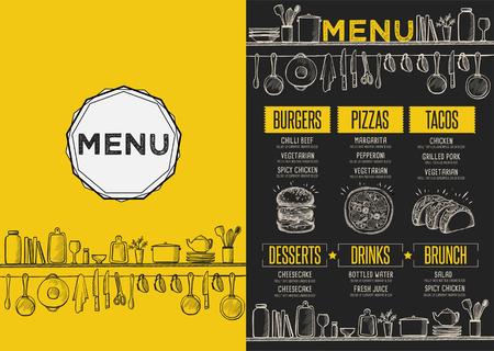 Cafe Menü Essen Platzdeckchen Broschüre, Restaurant Template-Design. Kreative Jahrgang Brunch Flyer mit handgezeichneten Grafik. Standard-Bild - 63153057