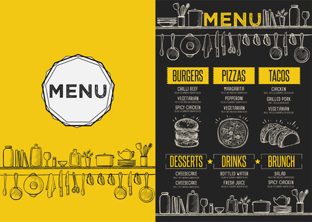 Cafe menu food placemat brochure, restaurant template design. Creative vintage brunch flyer with hand-drawn graphic.