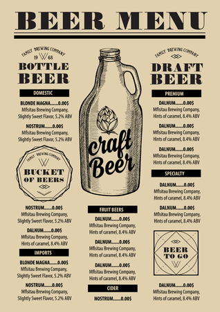 blackboard background: Beer menu placemat food restaurant brochure; template design. Vintage creative alcohol flyer with hand-drawn graphic.
