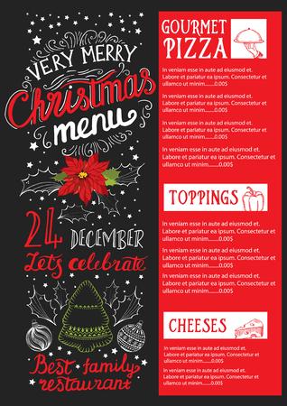 Christmas Restaurant Brochure, Menu Template. Holiday Background ...