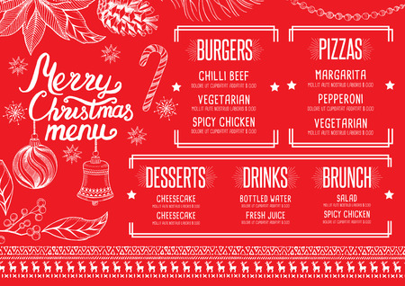 placemat: Christmas restaurant brochure, menu template. holiday background and design . Happy New Year party with xmas graphic.