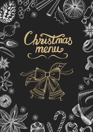 food and drink holiday: christmas restaurant brochure, menu template. holiday background and design . Happy New Year party with  xmas graphic.