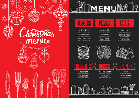Christmas restaurant brochure, menu template. holiday background and design . Happy New Year party with  xmas graphic. Stock Illustratie