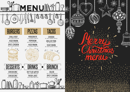food and drinks: Christmas restaurant brochure, menu template. holiday background and design . Happy New Year party with xmas graphic.