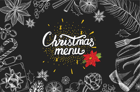 retro christmas: Christmas restaurant brochure, menu template. holiday background and design . Happy New Year party  with xmas graphic.