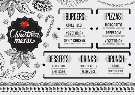 food and drink holiday: Christmas restaurant brochure, menu template. holiday background and design . Happy New Year party with  xmas graphic. Illustration