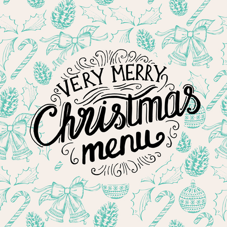 food and drink holiday: Christmas party brochure, menu template.  holiday background and design . Happy New Year party with  xmas graphic. Illustration