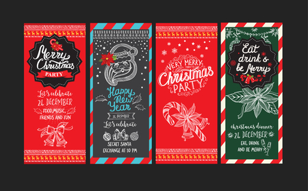 Christmas party brochure. holiday background and design . Happy New Year party with  xmas graphic. Vettoriali