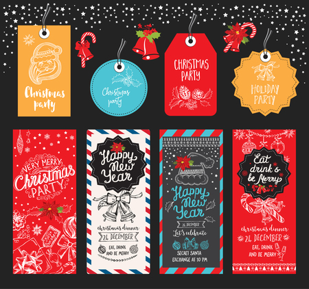 christmas party: Christmas party brochure. holiday background and design banner. Happy New Year party with  xmas graphic.