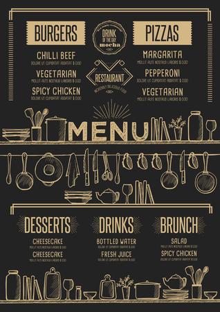 cafe food: Cafe menu food placemat brochure, restaurant template design. Creative vintage brunch flyer with hand-drawn graphic.